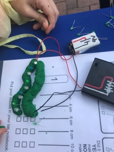 Play dough conducts electricity. Squishy circuit
